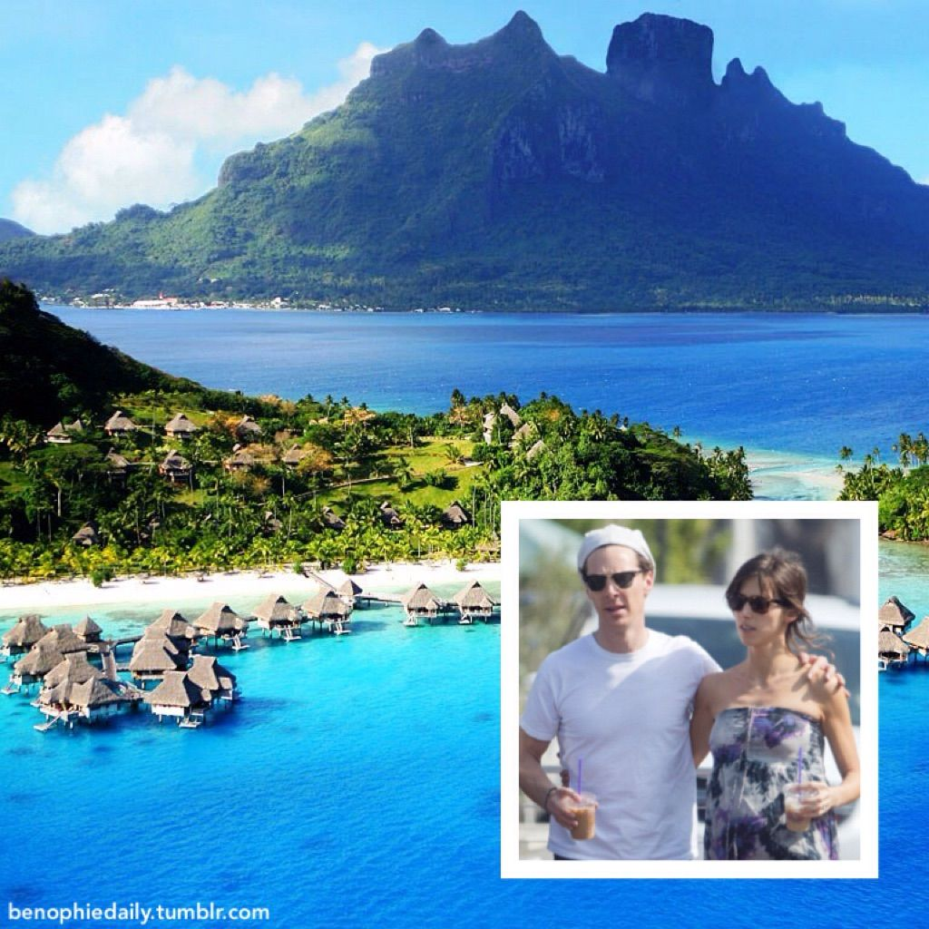 """An eyewitness tells E! News that Oscar nominee Benedict Cumberbatch and Sophie Hunter are on a 10-day honeymoon at a five-star resort in Bora Bora. """"From the time they arrived, they rarely left their..."""