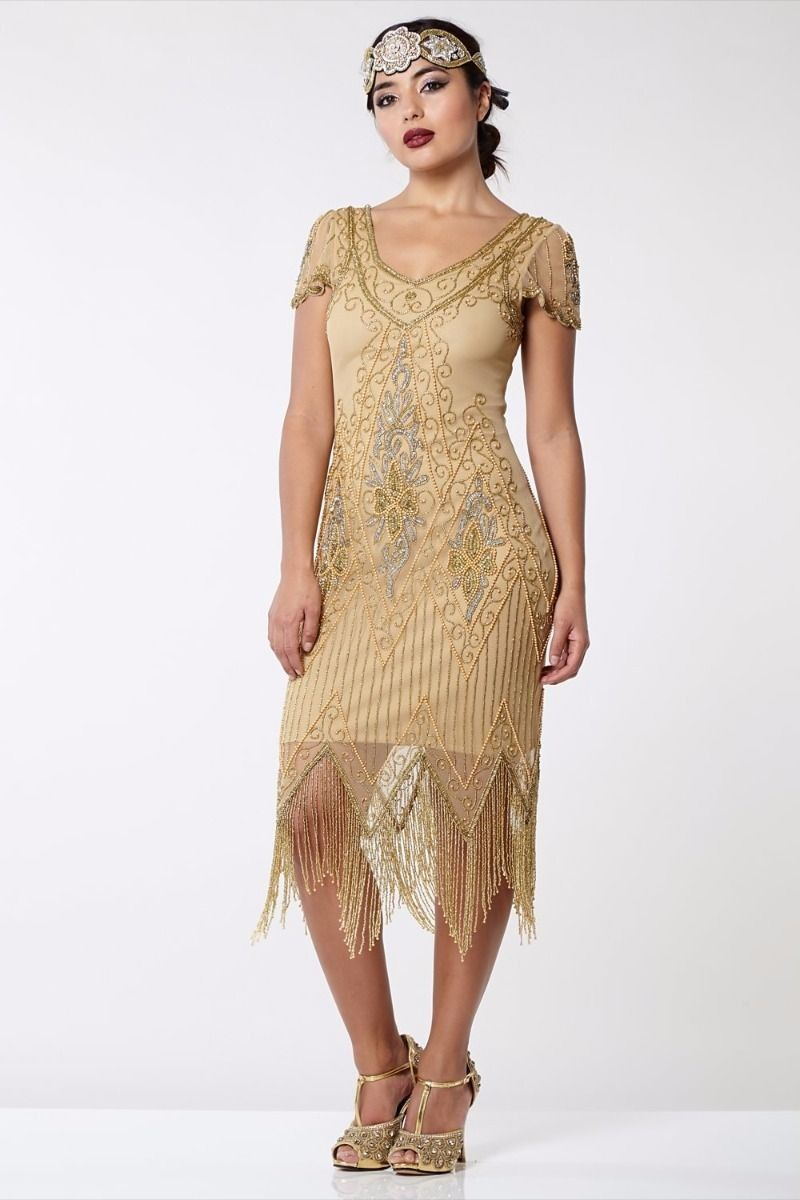 f03c749adaa Flapper Style Fringe Party Dress in Antique Gold