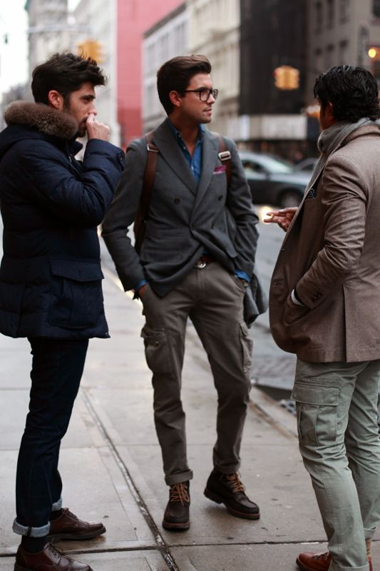 The gentleman in the middle - boots, trousers, jacket!