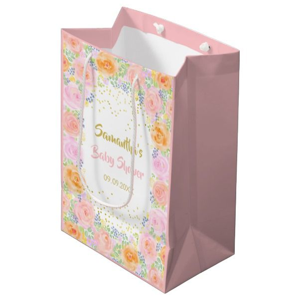Baby Shower Pink Roses Watercolor Floral Fancy Medium Gift Bag | Zazzle.com images