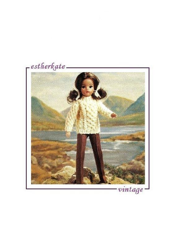 Vintage Knitting Pattern Pdf Sindy Doll Clothes Aran Sweater