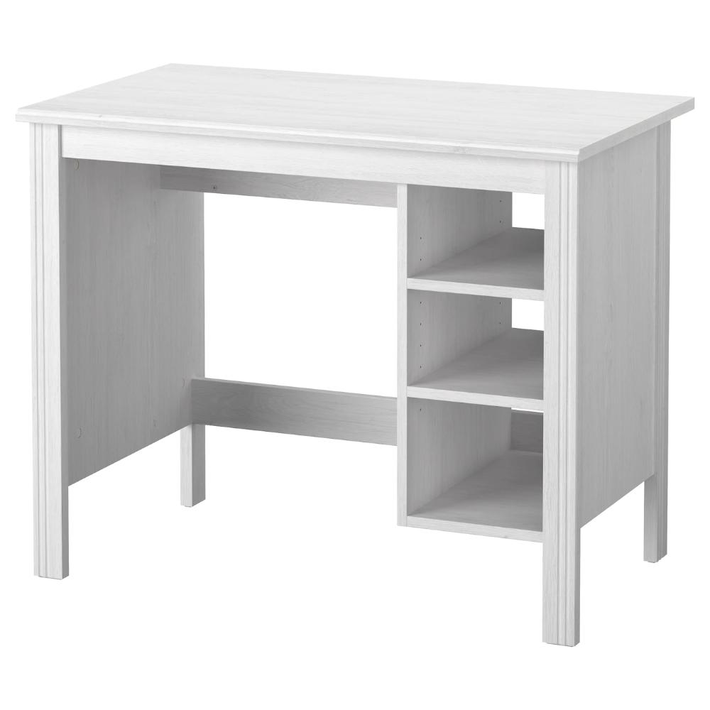 Brusali Desk White 90x52 Cm Ikea In 2020 Ikea Brusali Ikea White Desks