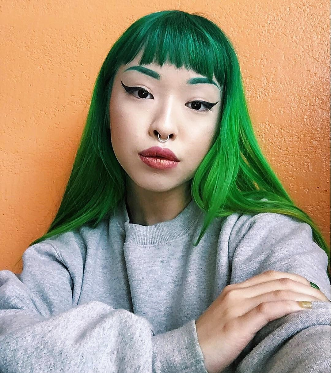 25 Green Hair Color Ideas You Have To See Green Hair Colors Green Hair Long Hair With Bangs