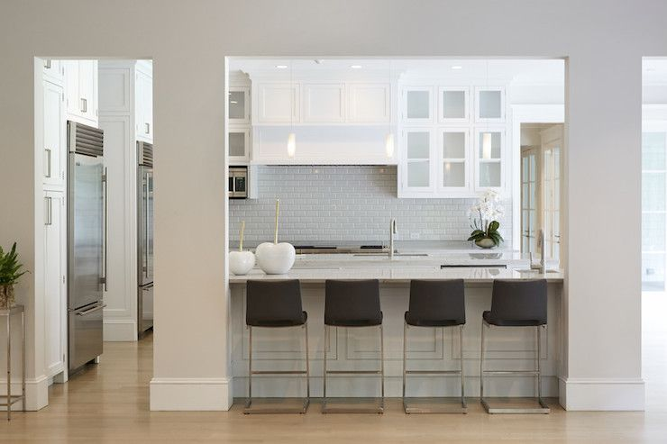 Custom Kitchen With White Shaker Cabinets Accented With Nickel Pulls - Light gray shaker cabinets