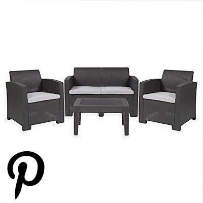 Flash Furniture 4Piece Outdoor Faux Rattan Set In Dark Gray Dark grey Flash Furniture 4Piece Outdoor Faux Rattan Set In Dark Gray Dark grey