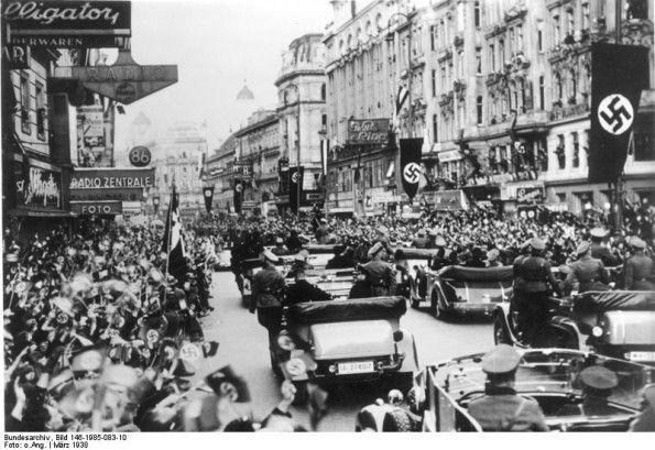 March 15, 1938. German troops arrive in Vienna: German troops parade through Vienna