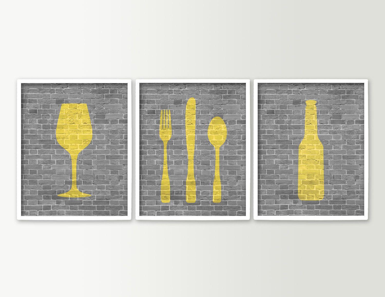 Modern Dining Room Art Kitchen Prints   Beer Wine Fork Knife Spoon   Set Of  3 Dining Room Decor   Kitchen Wall Art   Wine Prints