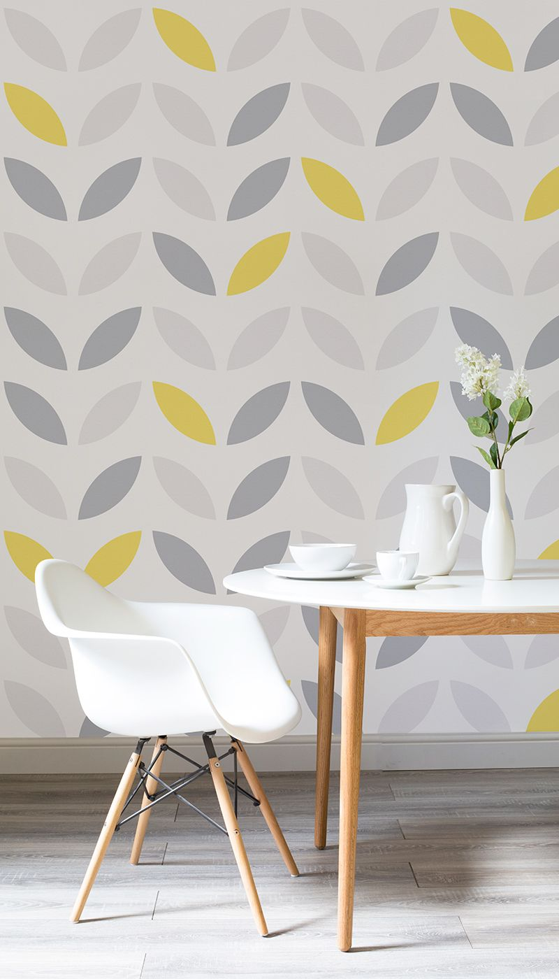 Yellow And Grey Abstract Flower Pattern Wallpaper In 2019