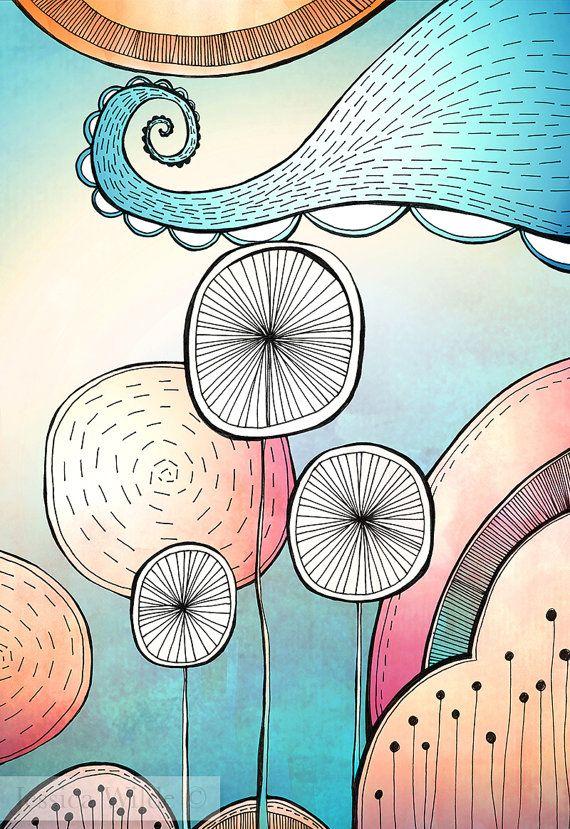 Spring Pop A4 Giclee Fine Art Print Whimsical Art Art Oil Pastel Art