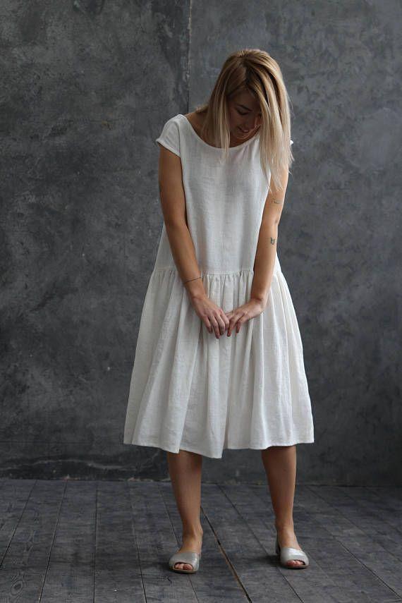 White linen wedding dress - white long linen dress - oversized white ...