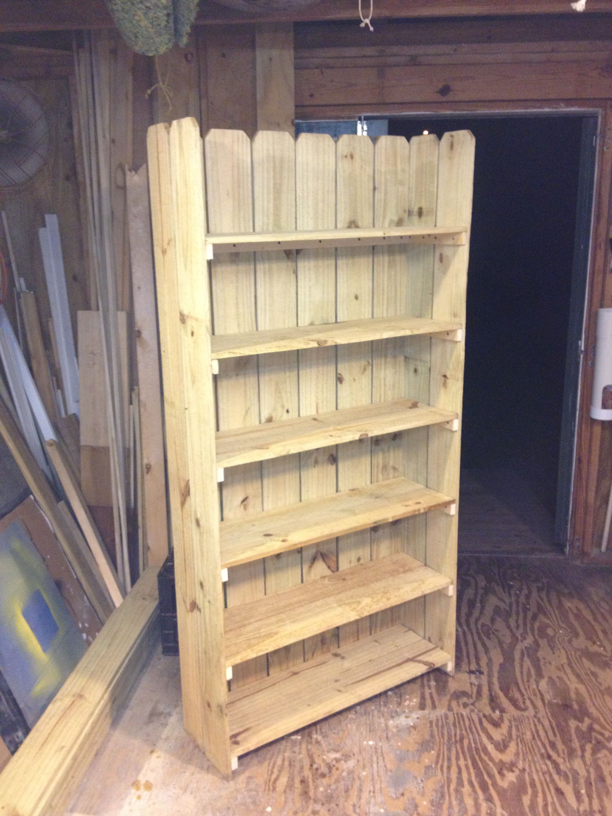 Bookshelf made from leftover fence boards and