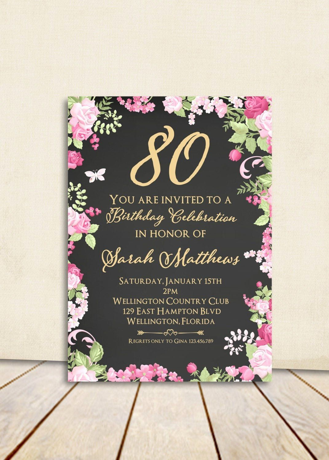 80th Birthday Party Invitations Elegant Cottage Chic Chalkboard 80th Bir 80th Birthday Invitations Milestone Birthday Invitations Birthday Invitation Templates