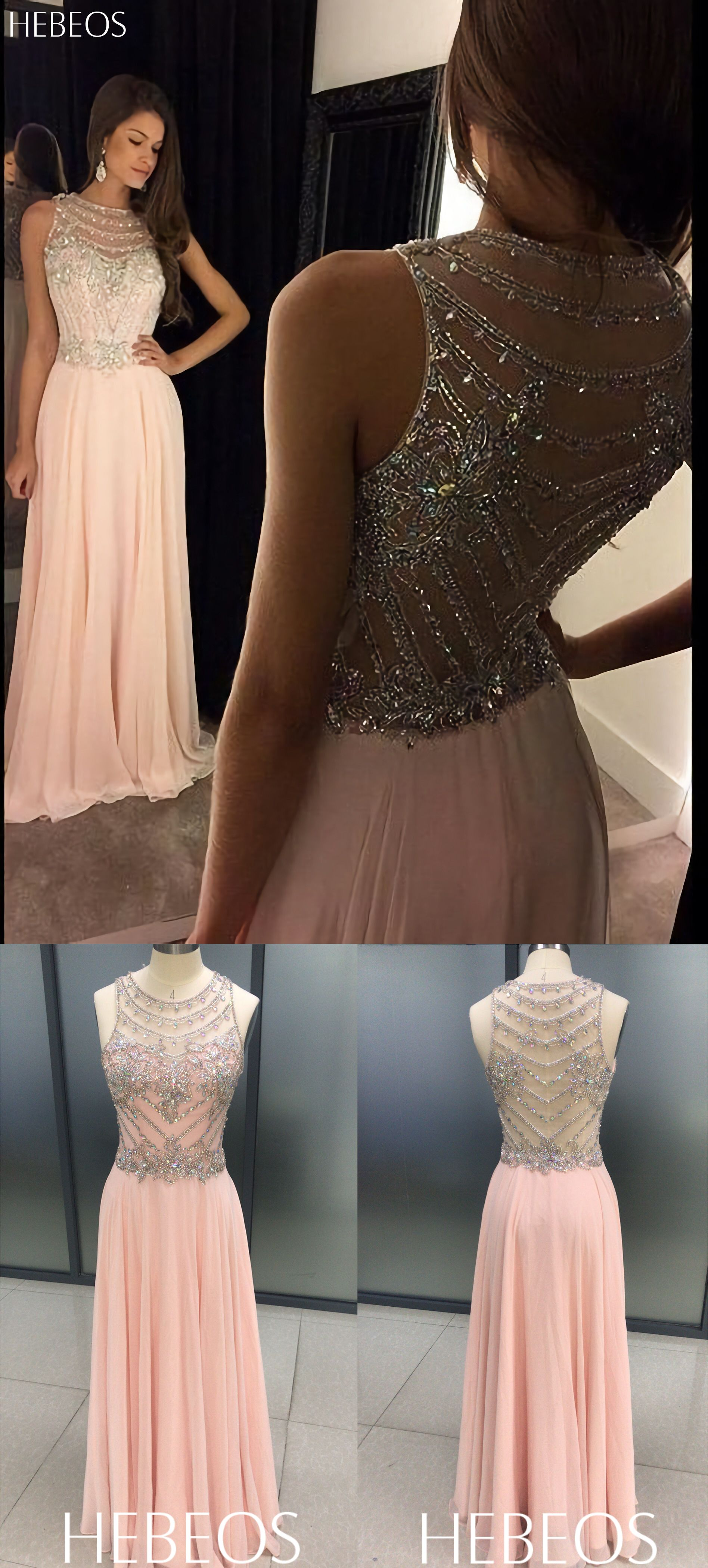 Hebeos aline scoop chiffon pink long prom dresses prom
