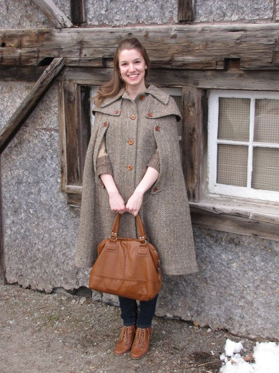 Vintage Brown Tweed Cape Coat 60s Small Medium | Coats, Vintage ...