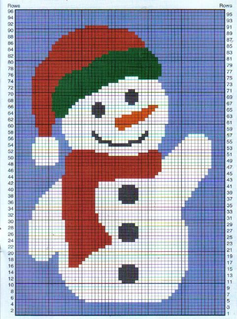 Free Christmas Eve Afghan Knitting Patterns Snowman Afghan
