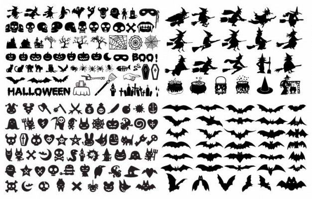 free halloween vectors witches cauldrons cats bats spiders free rh pinterest com halloween silhouette vectors free halloween vectors free download