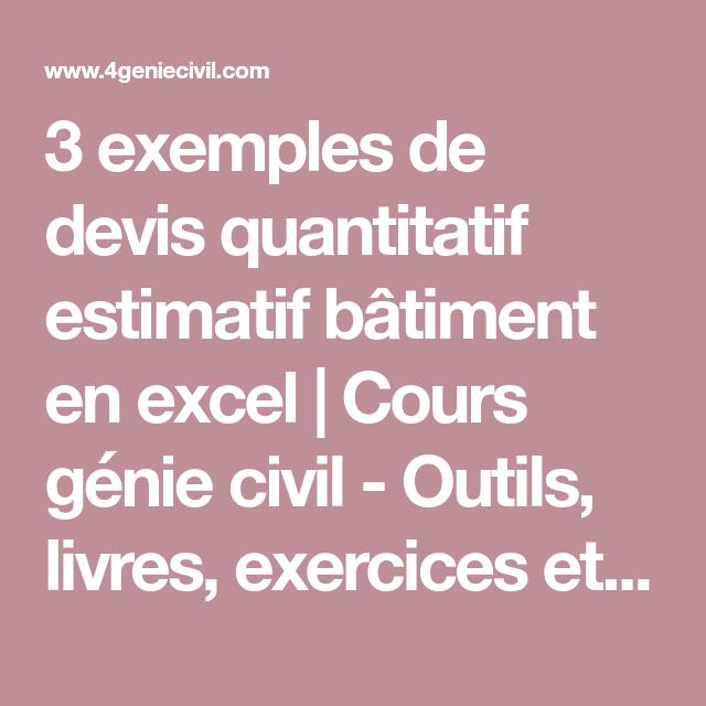 3 exemples de devis quantitatif estimatif bâtiment en ...