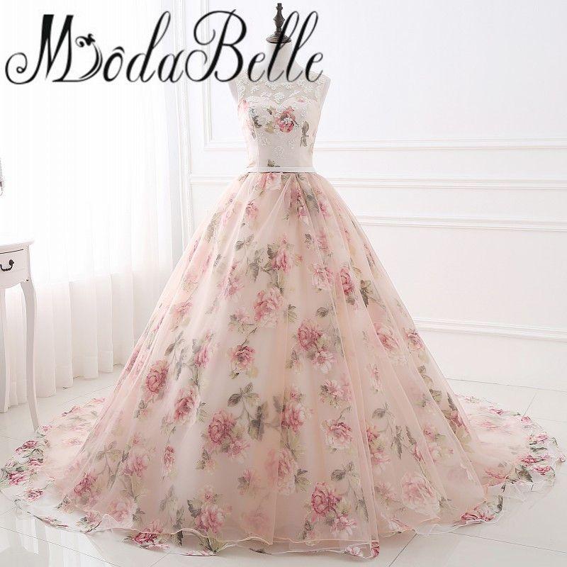 Beautiful Flower Print Floral Wedding Dresses Real Photo Princess Cheap Simple Lace Pink Blush Bridal Ball
