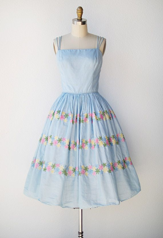 vintage 1950s blue cotton sundress with floral embroidery ...