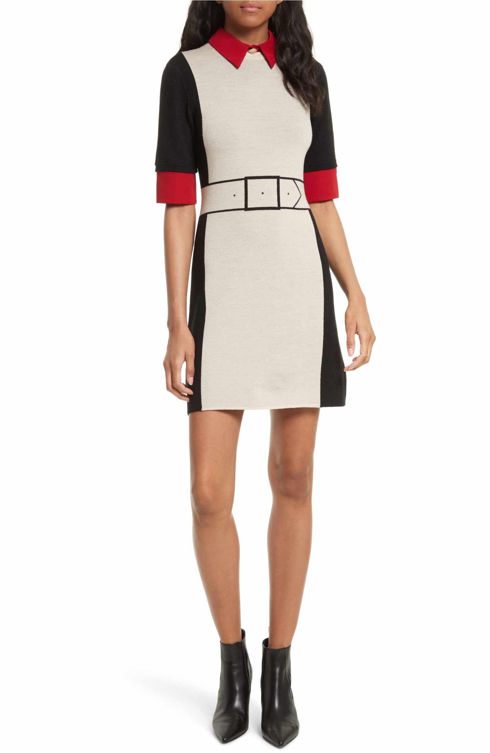 Main Image Alice Olivia Mia Contrast Trim Sweater Dress