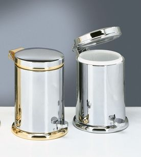 Decor walther decorative bathroom accessories chrome gold for Gold bathroom wastebasket