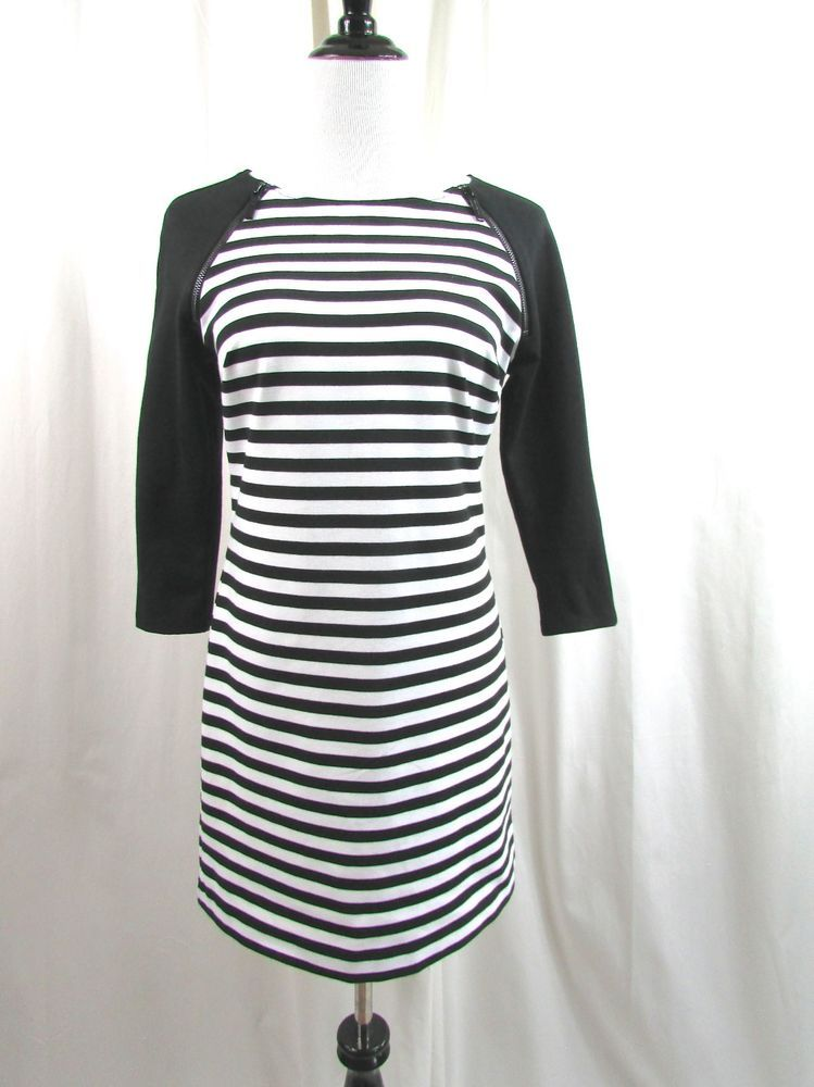 Michael Kors Black White Striped Zippered Shoulder Mini  Dress Size 6 Excellent…