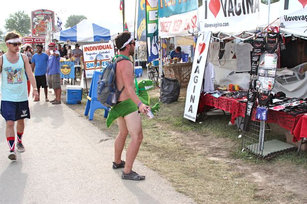 """DON'T: Get caught staring at the """"I Love Vagina"""" tent."""