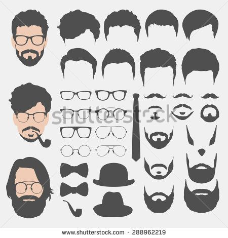 different hipster style haircuts, glasses, beard, mustache, bowtie ...