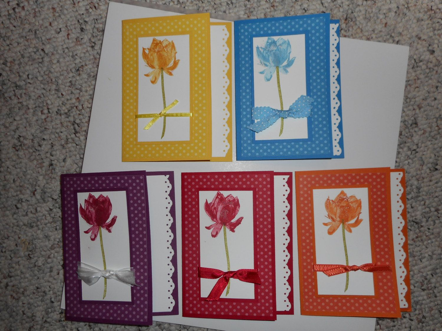 One Stampin up  card with envelope, Colorful flower Note card, you choose color - pinned by pin4etsy.com