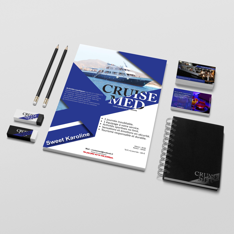 Réalisation d'un flyer recto-verso et d'une carte de visite pour la société Cruise Med qui réalise des croisières de luxe.