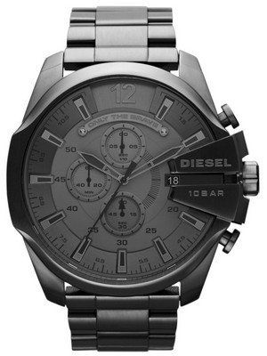 Diesel Mega Chief Quartz Chronograph Grey Dial Black IP DZ4282 Men s Watch fa047fc199