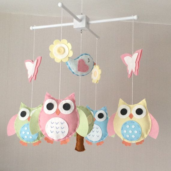 Baby mobile owl baby mobile cot mobile baby girl for Bird mobiles for nursery