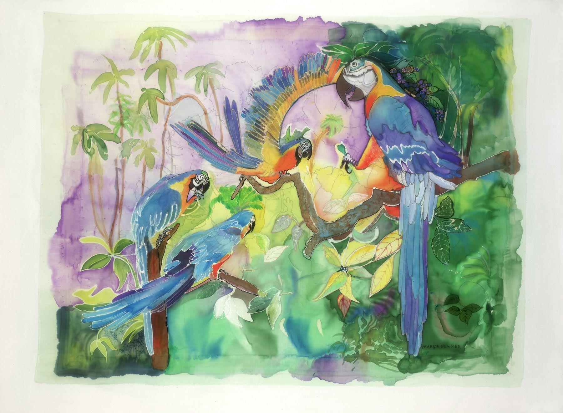 Parrots on Silk