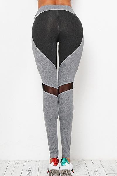 eecea23ad122e Black Grey Heart-shaped Butt Patch Yoga Gym Pants