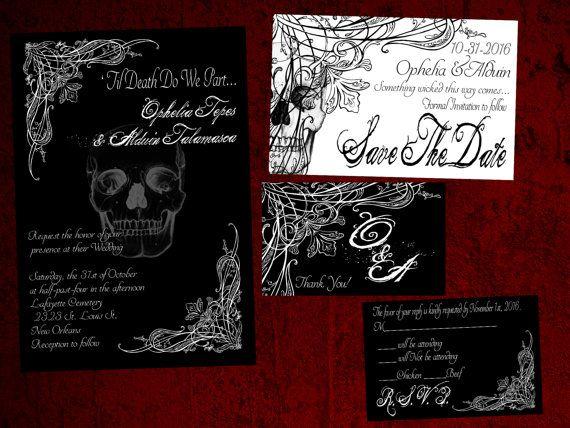 Til Death do we Part Gothic Halloween Wedding Invitation Save ...