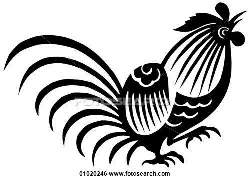 Stock Illustration of Signs & Symbols - line art China The cock symbolizes courage and reliability