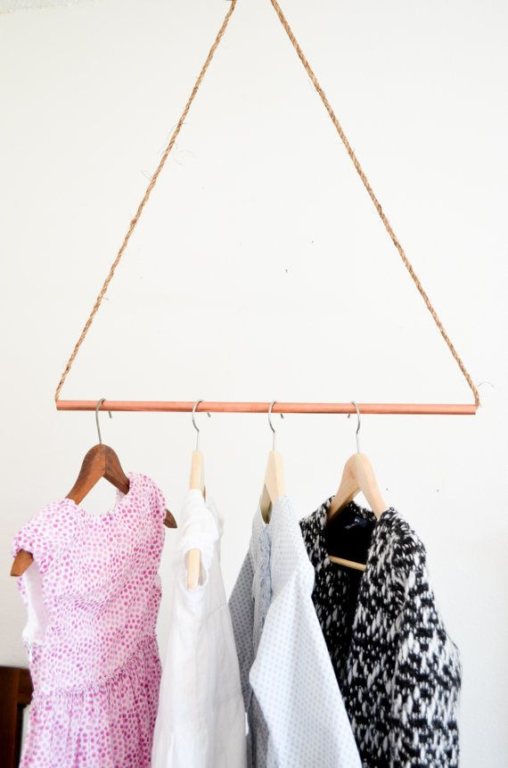 Copper Pipe And Rope Hanging Clothes Rack Diy