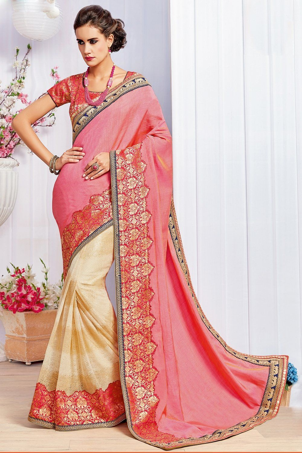 b08c0018d78564 Buy Pink and Cream Color Fancy Brocade Saree BY SURBHI FASHION Online at Low  prices in India on Winsant, India fastest online shopping website. Shop  Online ...