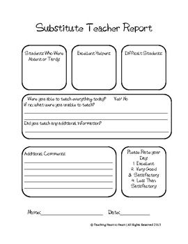 Great Substitute Teacher Feedback Form Substitute Teacher