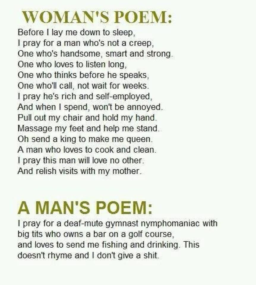about men poems Funny