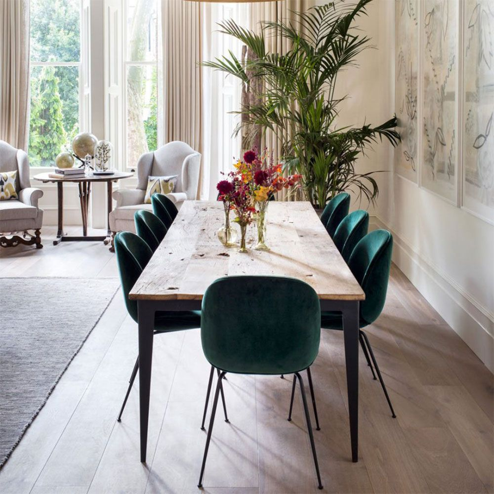 How To Decorate With Green The Most Peaceful Of Colours Scandinavian Dining Room Beautiful Dining Rooms Dining Room Inspiration