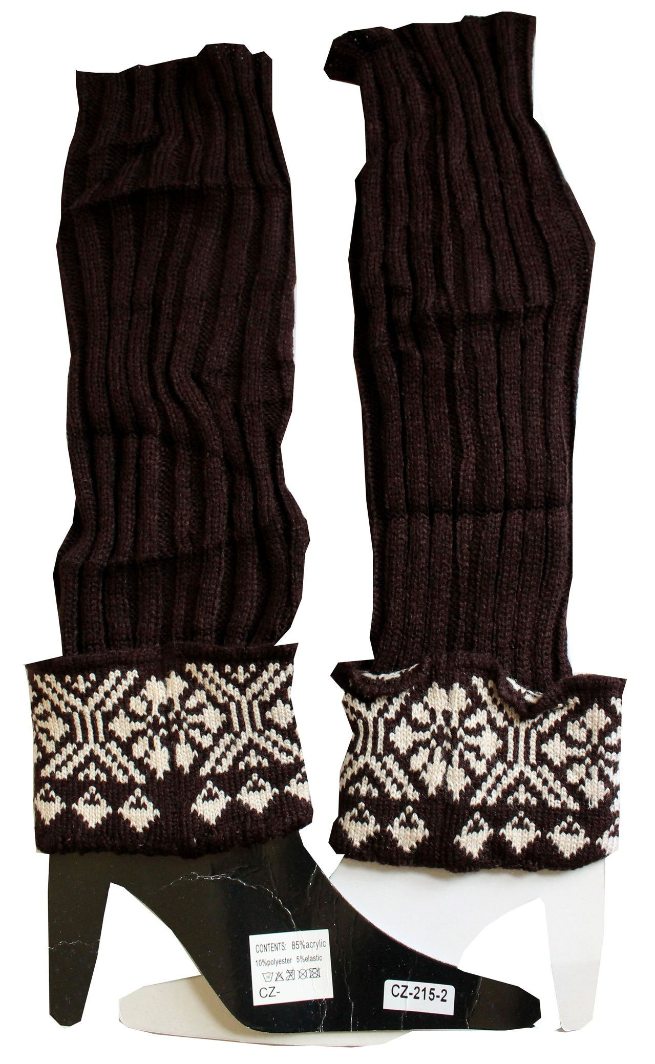 "Snowflake Women Winter Crochet Knit Leg Warmers Boot Socks Brown. Fashion leg warmers with beautiful snowflake print. Size : 16"" long. Approximately 5"" Circumference. One Size. Elastic. Material : 85% acrylic, 15% polyester, 5% elastic. Great to match with skirts, shorts, skinny jeans. Condition : 100% New. Hand wash. Line dry."