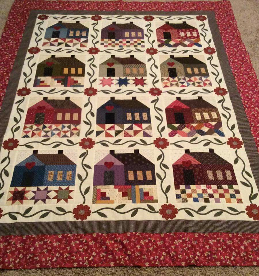 Pattern is called Patchwork Cottage by The Rabbit Factory. Pattern has 6 houses