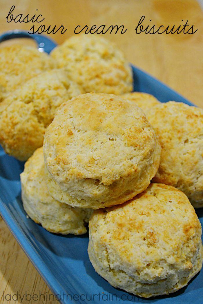 Basic Sour Cream Biscuits Recipe Sour Cream Biscuits Sour Cream Recipes Sour Cream