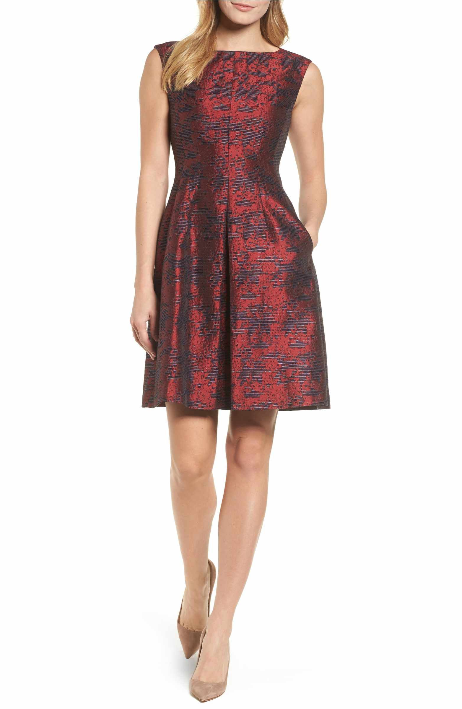 Anne klein jacquard inverted pleat fit flare dress
