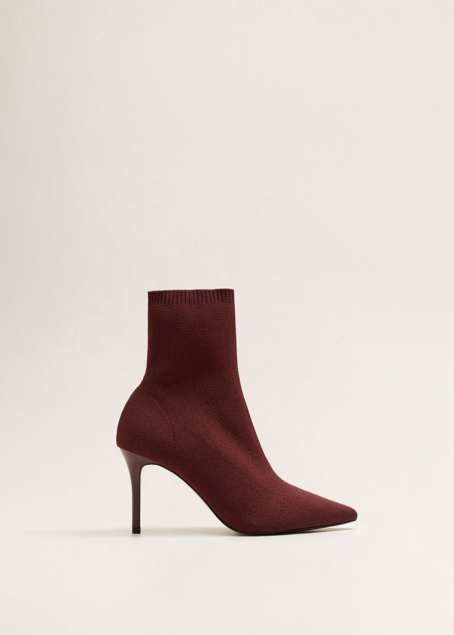 ad6be4157c2 Mango Heel Sock Boots - Wine 6 | Fall/Winter Styles | Socks, heels ...