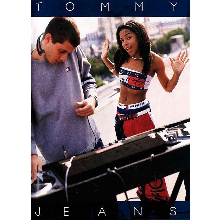 8fd061f5 Tommy Hilfiger ad from our May 1997 issue starring Aaliyah and Mark Ronson