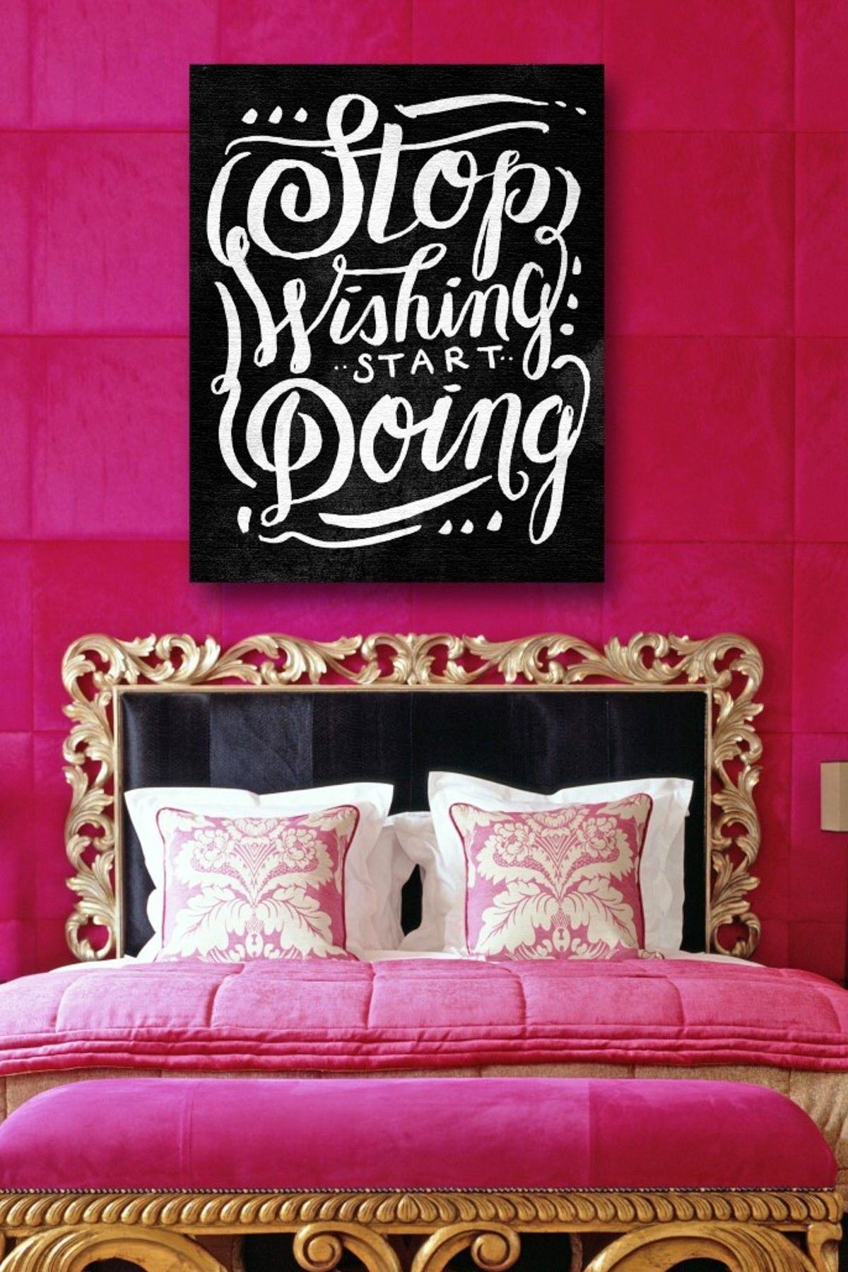 Pin By Angelica On Dream Beauty Room Ideas Bedroom Wall Decor Above Bed Wall Decor Bedroom Hot Pink Furniture