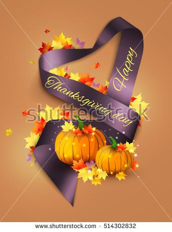 Autumn satin ribbon banner.
