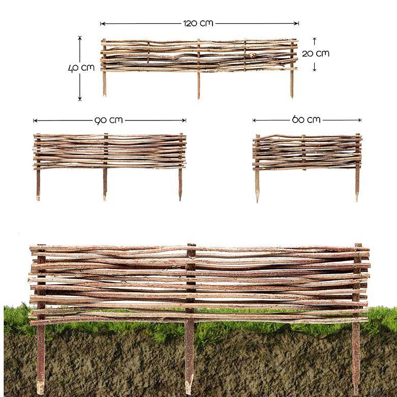 Floranica® Steckzaun-Weide Rasenkante Beeteinfassung Palisade Zaun 60 cm hoch